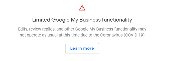 covid welcome Google my business